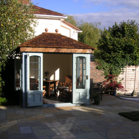 10' x 8' cedar Ashton with square leaded windows and doors
