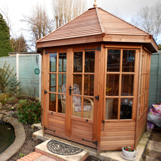 "7'7"" x 7'7"" cedar Gazebo with cedar slatted roof"