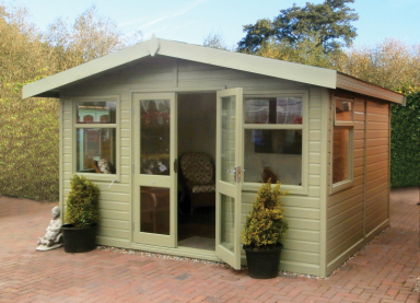 12' x 10' cedar Studio Apex with coloured external finish