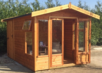 Newland with internal partition, external shed door and black felt roof.
