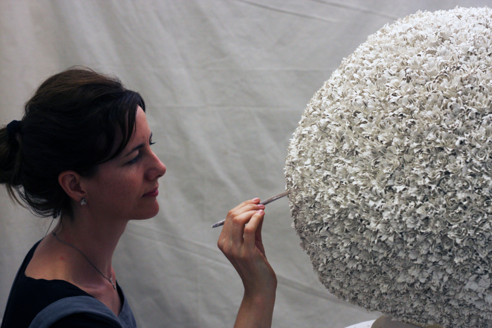 Ceramicist Corrie Bain at work on Protozoa