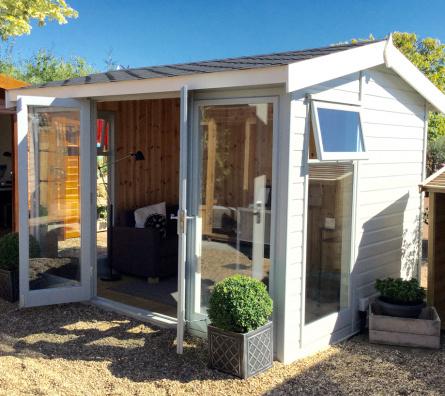 12' x 8' Studio Pavilion with coloured external finish, laminate floor and cedar shingle roof