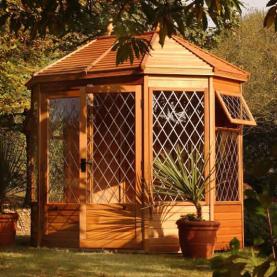 "8'5"" x 6' cedar Gazebo with cedar slatted roof, diamond leaded windows and doors"