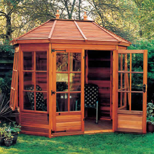 "8'5"" x 6' cedar Gazebo with cedar slatted roof, Georgian windows and doors"