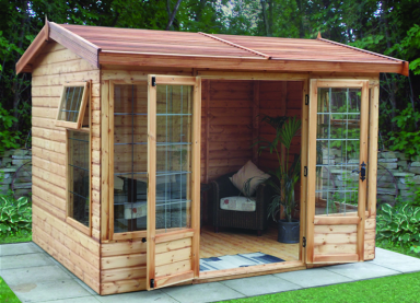 10' x 8' deal Newland Pavilion with cedar slatted roof, square leaded windows and doors
