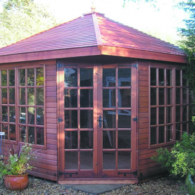 10' x 10' cedar Martley with cedar slatted roof, Georgian windows and doors
