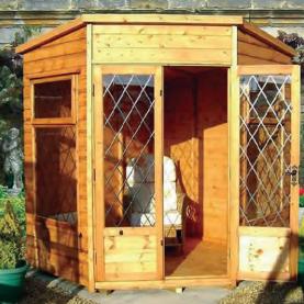 7' x 7' deal Newland Corner Pent with diamond leaded windows and doors