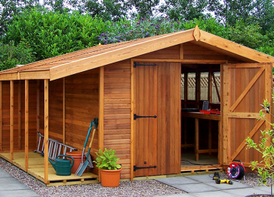 12' x 10' cedar Stanford with logstore, lower ridge height, cedar slatted roof and double doors
