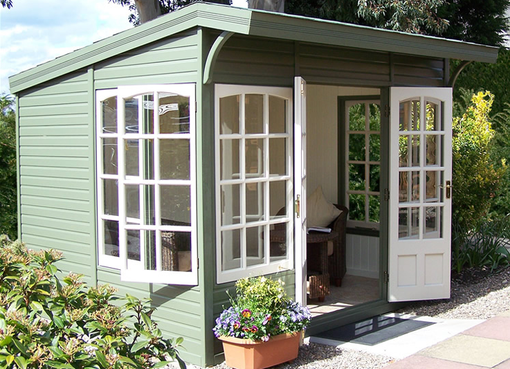 10' x 8' Stretton with dropped front roof overhang, Georgian windows and doors