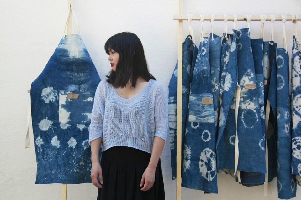 Indigo Aprons - Lola Lely. See Lola and her work in the Artisan Studios of RHS Chelsea Flower Show 2019 (Malvern Garden Buildings)
