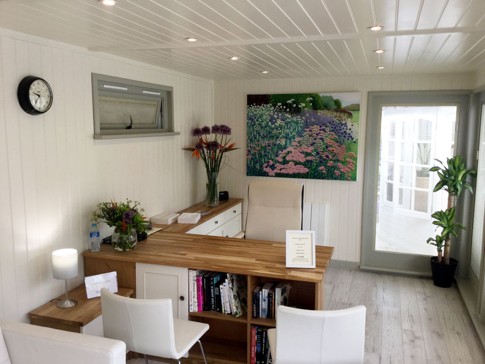 Interior of Hanley bespoke garden office by Malvern Garden Buildings