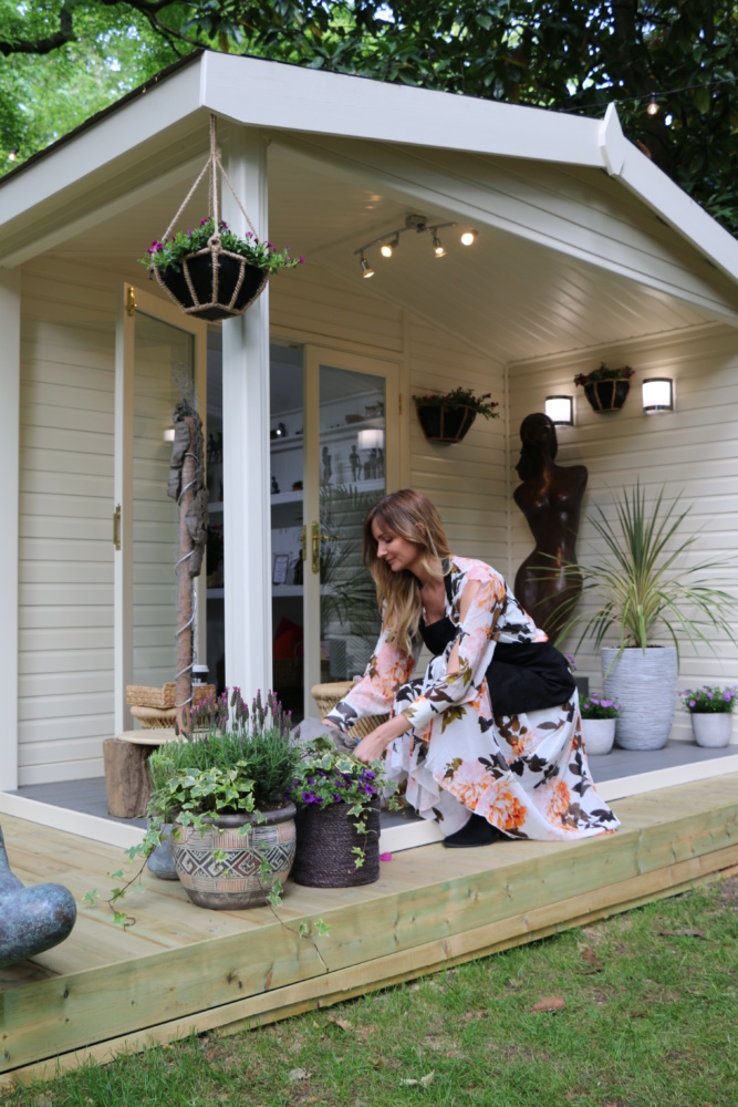 Artisan working outside Malvern Studio at Chelsea Flower Show 2019