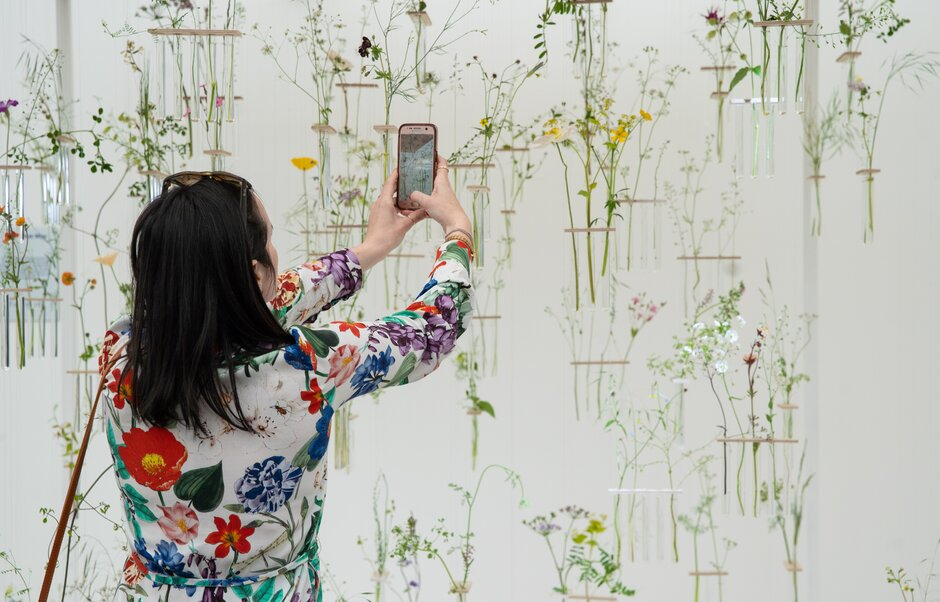 A visitor takes a photograph of a floral display in the Great Pavillion at the RHS Chelsea Flower Show during press day in London, May 20, 2019. Photograph by Suzanne Plunkett/RHS