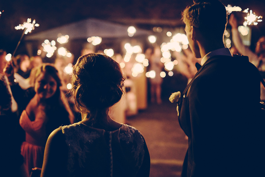 Nighttime outdoor wedding