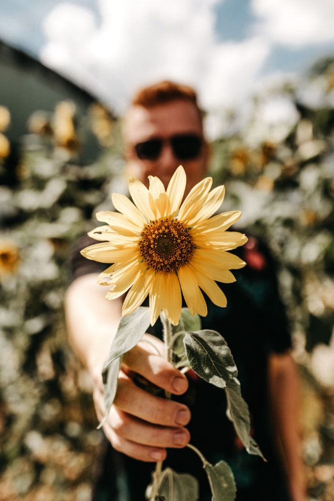 Man in sunglasses holds flower up to camera
