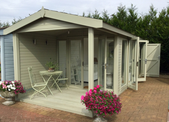 Studio Pavilion with Deck and Shed, Garden Room ex-display garden building available at Malvern Garden Buildings, Shepperton, Greater London