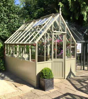 Painted cedar greenhouse