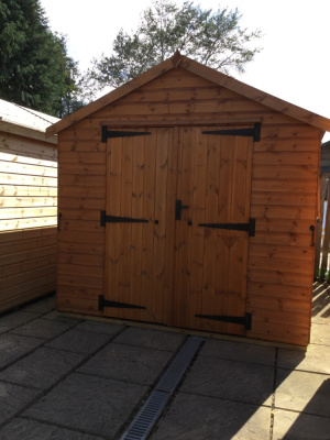 Heavy duty timber shed with apex roof and double doors