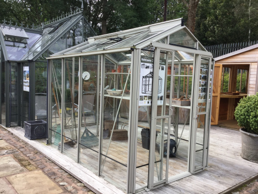 Robinsons Regatta Greenhouse ex-display garden building available at Malvern Garden Buildings, Leek, Staffordshire