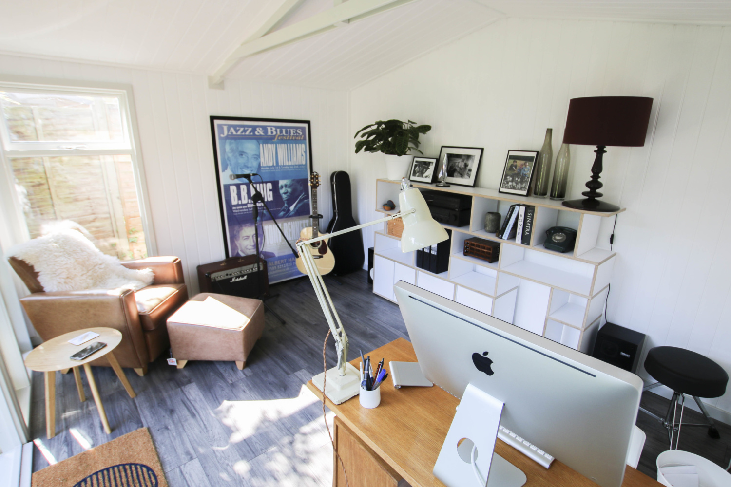 Oliver Darley uses his garden Studio as a Music Room. Read more about this chic Studio Apex by Malvern Garden Buildings