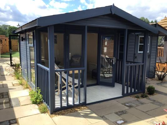 Studio Apex Garden Studio with Verandah ex-display garden building available at Malvern Garden Buildings, Buckingham, Buckinghamshire