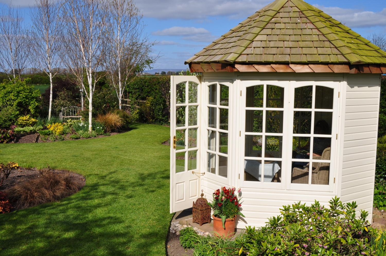 Exterior of the Hopton summerhouse in Martin Fish's garden