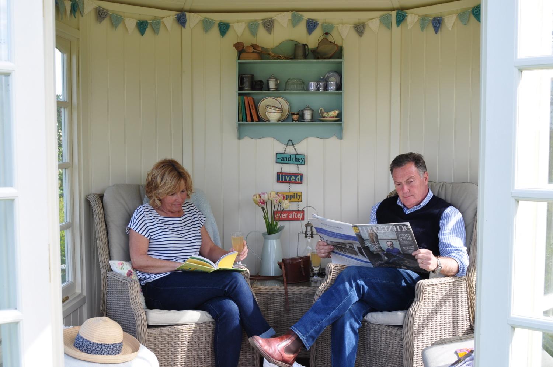 Jill & Martin Fish in their Hopton Summerhouse