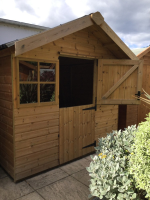 Unpainted heavy duty shed with stable door