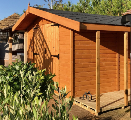 Standord Apex with Logstore Garden Shed ex-display garden building available at Malvern Garden Buildings, Shepperton, Greater London