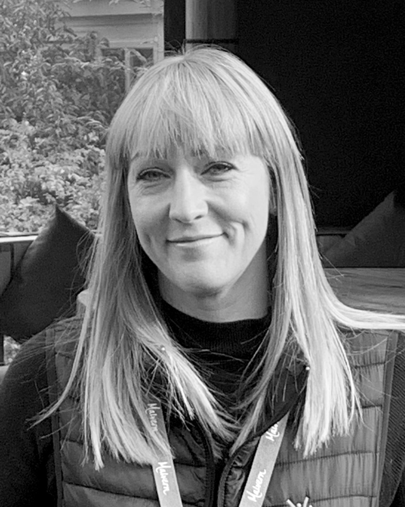 A black and white headshot of Kim who is smiling. Kim works as part of our sales team at our Staffordshire showsite