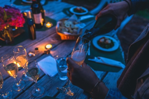 Table set for dining outdoors in the evening