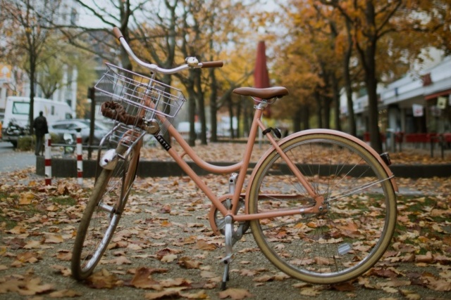 A lady's bike with basket parked in an autumnal street