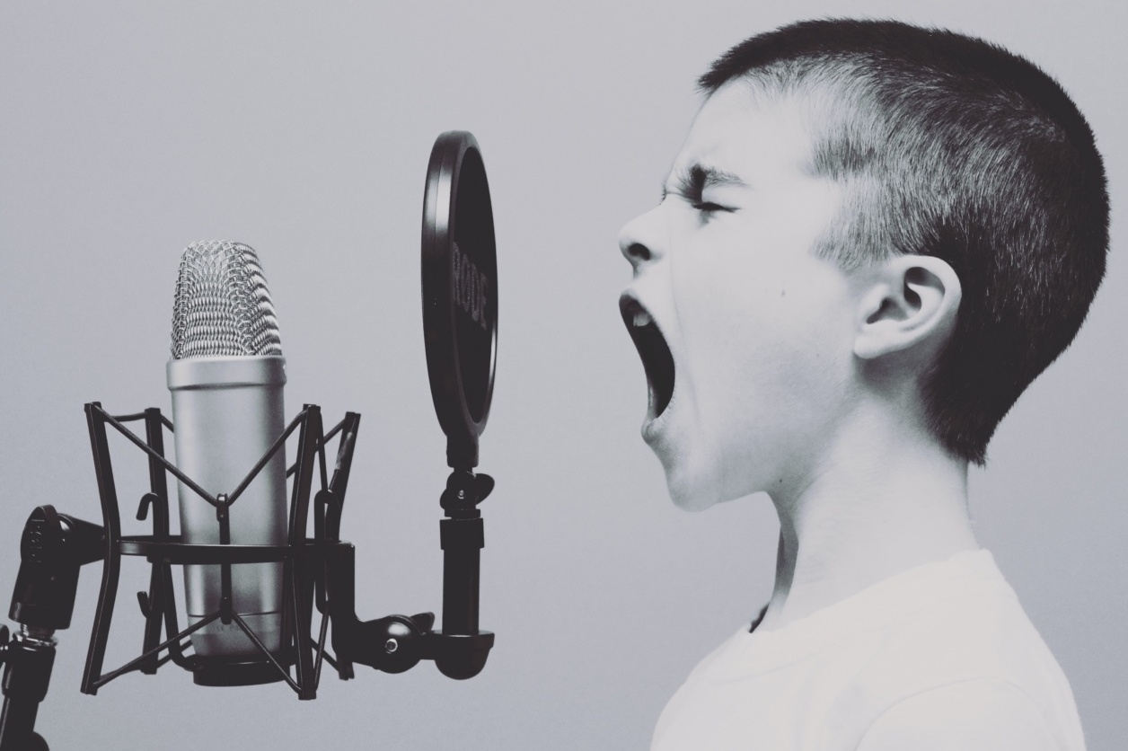 Boy screaming down microphone
