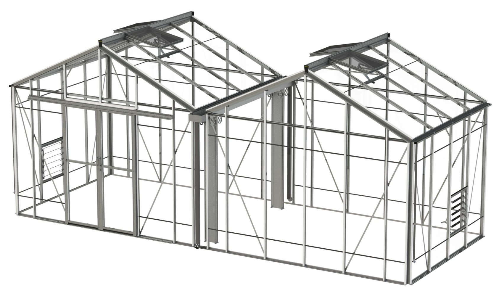 Rosette Reach Double 20 x 8 greenhouse by Robinsons