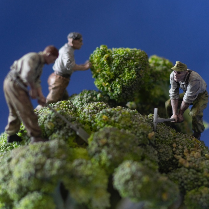 Small model figures gardening on top of greenery